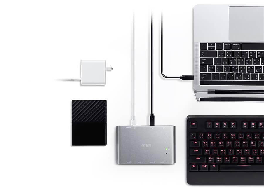 USB-C Sharing Switch US3342 c Power Pass-through – Питание вашего ноутбука и ваших USB устройств