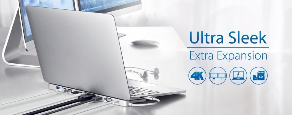 Ультратонкая многопортовая USB-C Док станция ATEN UH3234 с функцией сквозной передачи питания - Лучшее решение расширения для ноутбука