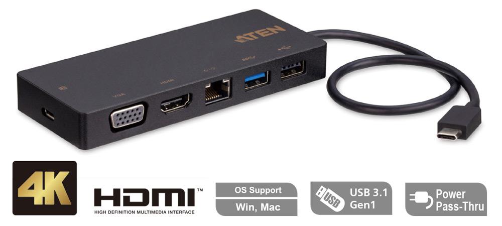 UH3236 подключает компьютер с поддержкой USB-C к 5 периферийным портам, включая USB 2.0 Type-A, USB 3.1 Gen 1 Type-A, Gigabit LAN, HDMI и VGA через один кабель USB-C.