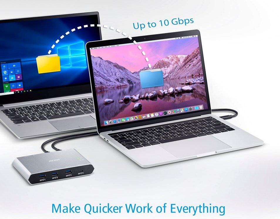 USB-C Коммутатор US3342 – Ультрабыстрая скорость передачи и работы между двумя системами