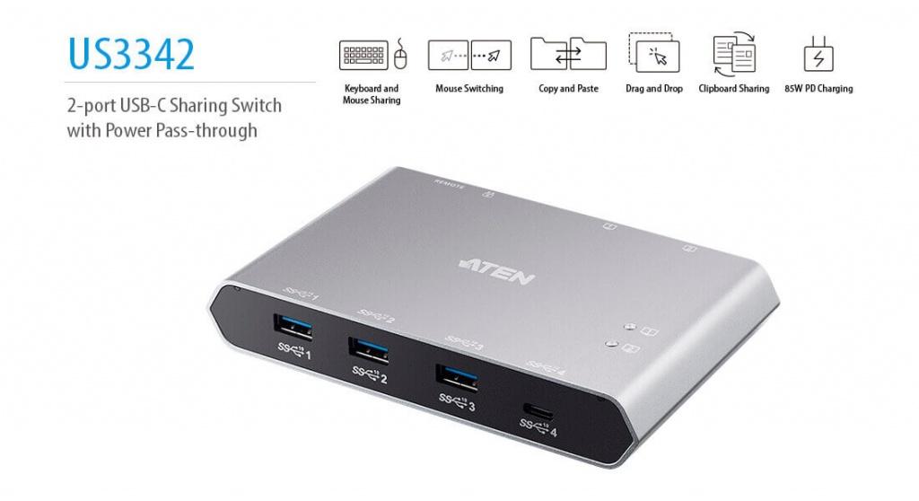 2-х портовый 10G USB-C Sharing Switch US3342 c Power Pass-through - Подключение